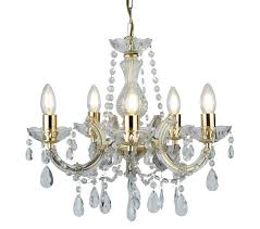 searchlight marie therese 5 light chandelier polished brass finish with barley twist arms crystal glass trim 699 5
