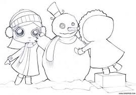 Small Picture Friends make a snowman coloring pages Hellokidscom