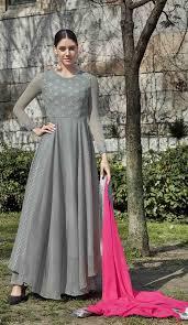 Splendorous Grey Color Georgette Evening Party Wear Pakitani Salwar