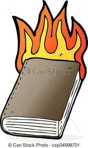 cartoon burning book