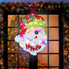Paper Christmas Tree Lights Battery Supply Led Light Up Santa Claus Paper Board Hanging Ornament Christmas Party Holiday Light