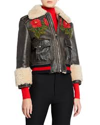 gucci loved rose embellished leather jacket w shearling lining