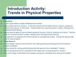 The Periodic Table. Introduction Activity: Trends in Physical ...