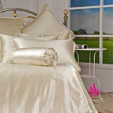 4pcs simple solid ivory silk bedding set bss047 uk double size