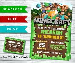 Birthday Invite Templates Free To Download Interesting Minecraft Birthday Invitations Together With Printable Birthday