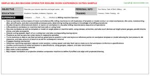 Milling Machine Operator Resume | Resumes Templates ...