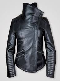 leather jacket with shearling collar for women 1