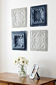 to hang them up i just hot glued some sawtooth hangers to the back i love the way they turned out these little vintage pieces really give the room a great  on vintage tin tiles wall art with tin ceiling tiles wall art