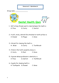 Printable Worksheets For Personal Hygiene Dental Health Lesson ...