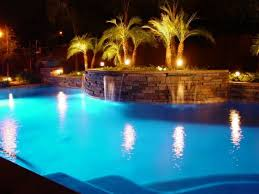 Inground pools at night Rectangle Conquest Pools Solar Pool Lights Inground Pool Lights