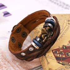 men genuine leather skeleton head bullet bracelet rock biker bracelets wide bangle rivet alloy casual vintage