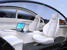 Auto Mobile Office Autonomous Car Interior Front Seats Turned Around Laptop Pc