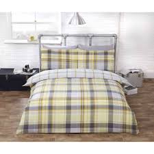 polycotton check design duvet cover set yellow