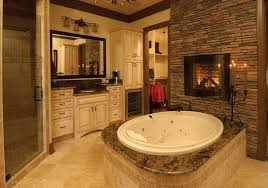 round shaped mirror and electric fireplace for superb master bathroom shower ideas