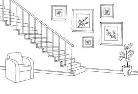 stairs clipart black and white.  Black Hallway Graphic Stairs Black White Interior Sketch Illustration Vector  Stock Vector  75421596 With Stairs Clipart Black And White L