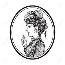 ラウンド フレーム 人人差し指で指しているの何かを示す ヴィンテージの刻まれた女性の肖像画のベクト