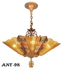 art deco slip shade chandelier by a firm in cleveland ohio called the frankelite co frankelite had a logo which was a stylized f in a diamond device
