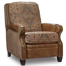 brandy top grain leather fabric recliner in huntington wood vs fabric sofa