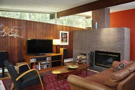 Maroon Living Room Furniture Awesome Mid Century Bricks Fireplace And Brown Leather Like Sofa