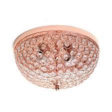 Rose Gold Lights Elegant Designs 2 Light Rose Gold Elipse Crystal Flush Mount Ceiling Light