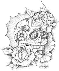 Small Picture Skull and Roses Coloring Page 29651 Bestofcoloringcom