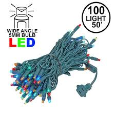 Commercial Grade Wide Angle 100 Led Multi 50 Long On Green Wire