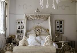 Canopy Bed Crown Molding French Big Girlu0027s Bedroom Features Wall Clad With Gray Flocked