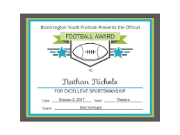 Football Certificate Template Inspiration Editable PDF Sports Team Football Certificate Award Template Etsy