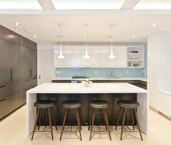 modern kitchen island with seating. White Color With Brown Accents For Kitchen Modern Island Seating R