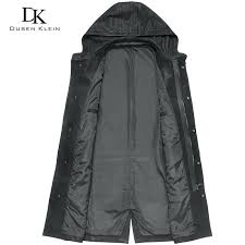 hooded leather trench coat designer trench coat men long hooded trench jackets genuine leather male leather clothing black in genuine leather coats from
