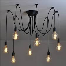lixada 6 arms each with 1 7m wire antique classic ajule diy ceiling spider lamp light e27 retro chandelier pedant dining hall bedroom hotel