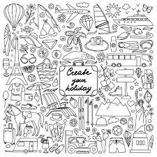 ベクトル イラスト手描き落書き夏と旅行の要素