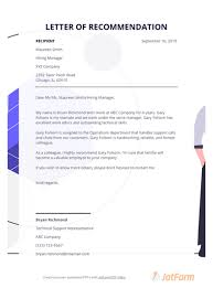 letter of remendation template for