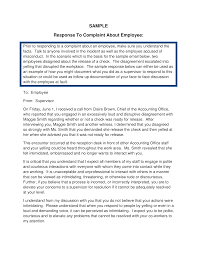Employee Complaint Response Letter Templates At