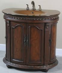 accent half round glass top bathroom vanity