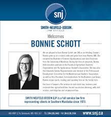 Welcome Bonnie Schott!   Smith Neufeld Jodoin LLP