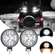 SUHU 48W Đèn LED Làm Đèn Mini Tròn LED Siêu Sáng Ánh Sáng Ban Ngày Trắng  Ánh Sáng Vàng Cho Xe Hơi, xe Máy Xe Tải Phụ Kiện Xe Hơi