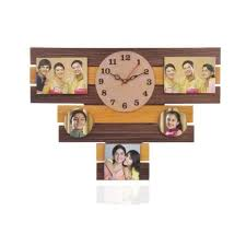 wooden wall photo frame clock for home