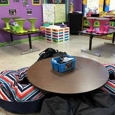 flexible seating classroom with bean bag chairs around a low table