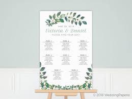 Modern Frame Greenery Wedding Seating Chart Poster Poster Prints