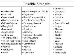 Examples Of Strengths Strengths Be Prepared To Discuss 2 3 Of Your Strengths And