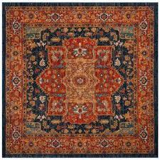 evoke blue orange 7 ft x 7 ft square area rug