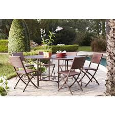 cosco delray transitional 7 piece steel brown red woven wicker compact folding patio dining