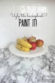 Painting Kitchen Tile Backsplash Beauteous Painted Tile Backsplashcover Those Ugly Tiles [ Remodeling ] In