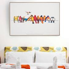 funny canvas oil painting colorful birds canvas art cute lovely bird picture abstract unframed home decoration on colorful birds canvas wall art with funny canvas oil painting colorful birds canvas art cute lovely bird