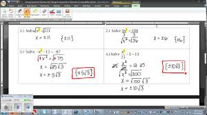 solving quadratic equations by taking the square root notes