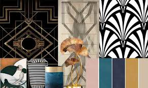 floors a linoleum with an abstract design or a polished parquent wooden flooring could complete the entire deco look black and white vinyl tiles could