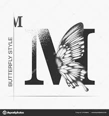 M Lettering Design Letter M With Butterfly Silhouette Monarch Wing Butterfly