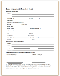 employment information sheet employee information form png