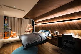 hidden lighting. This Modern Kids Bedroom Features Unique Wrap-around Wood Accent Wall With Hidden Lighting, Lighting